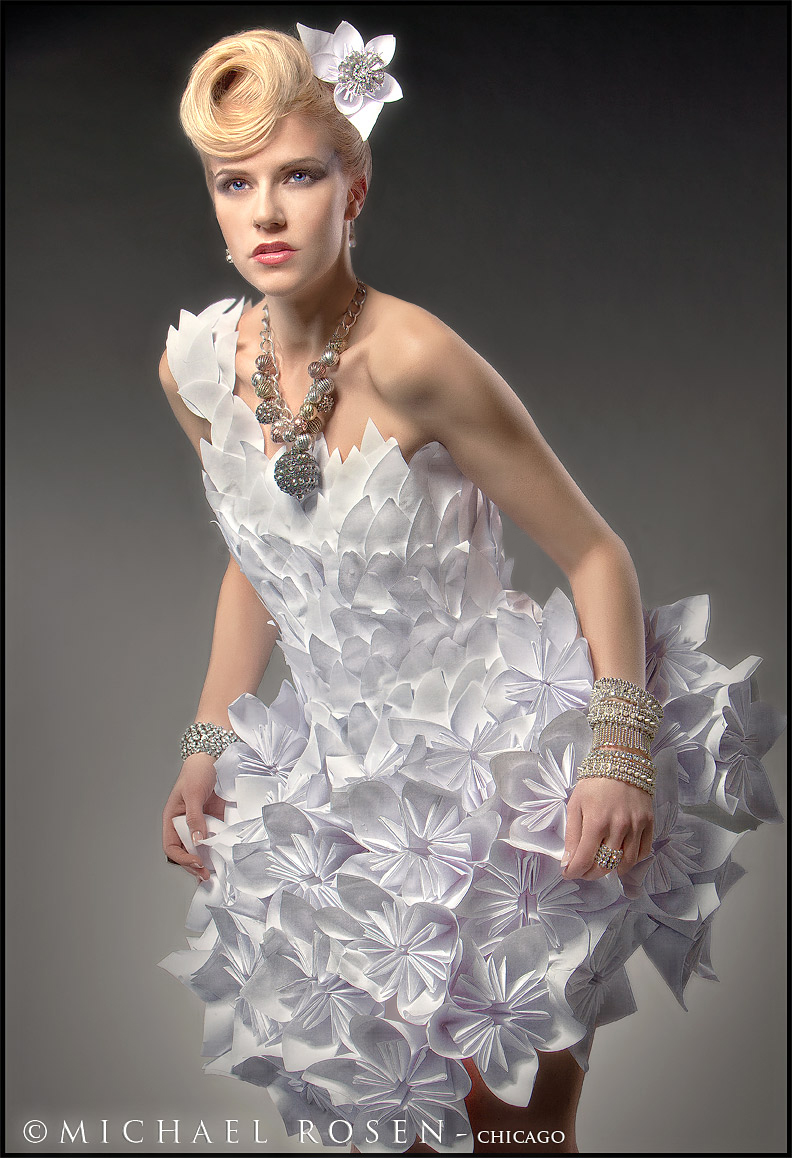 Oragimi paper dress, Oragimi Dress, paper dress, monica true, avant garde, paper dresses, unique, chicago, wardrobe, editorial, magazine, set, designer, stylist, hand made, white paper, computer paper, futuristic, graphisma, mersina, michael rosen, chicago, jewelry, oragimi dress, oragimi, oragimi flower, flower