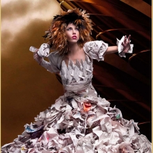 Paper dress, avante garde, avant garde, paper dresses, chicago designer, wearable art, newspaper dress, newspaper, dress