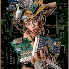 techno princess, tech, techno, technology, computer parts, computer, dress, artistic, avant garde, avant garde designer, chicago, designer, stylist, headpiece, michael rosen
