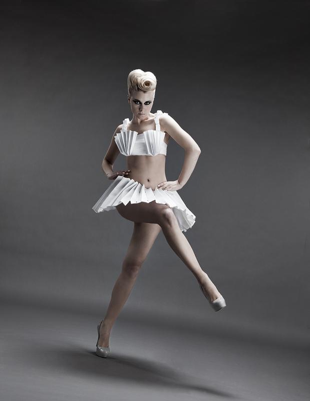 White Custom Designed Paper Dress