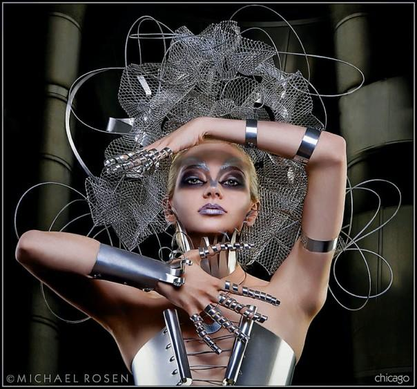 Metal fashion, metal clothing, metal wardrobe, metal dress, metal dresses, metal corset, metal headpiece, metal head piece, metal art, metal stylist, avant garde, fashion, wardrobe, San Francisco, rosen, michael rosen