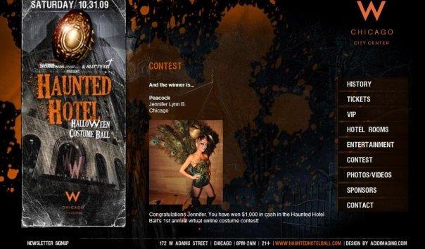 haunted hotel, halloween costume contest, halloween costume contest winner, peacock, peacock costume contest winner