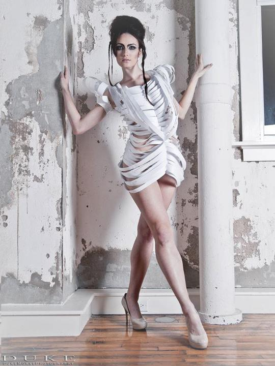 Duke Morse, Paper Dress, Texas, Houston, Dallas, Austin, paper dress, monica true, avant garde, paper dresses, unique, chicago, wardrobe, editorial, magazine, set, designer, stylist, hand made, white paper, computer paper, futuristic, graphisma, duke, dallas