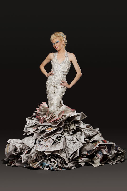 Chicago Paper Dress Artist, Newspaper Dress, Highfashion Newspaper dress, High Fashion Newspaper Dress, Chicago Paper Dress Artist, paper dress, monica true, avant garde, paper dresses, unique, chicago, wardrobe, editorial, magazine, set, designer, stylist, hand made, white paper, computer paper, futuristic, graphisma