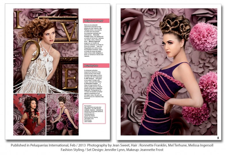 Valentine's Day Editorial, Valentines Day editorial, valentines day photo shoot, valentines day hair, chicago workshop, valentines day theme, print, tear sheet, spread