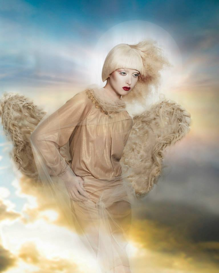 hair angel, wardrobe, editorial, hair stylist, jean sweet, sherri jesse, naha, 2014, 2013, angelic, hot by hairs how, dark beauty, spread, san francisco, jennifer Lynn, designer, stylist