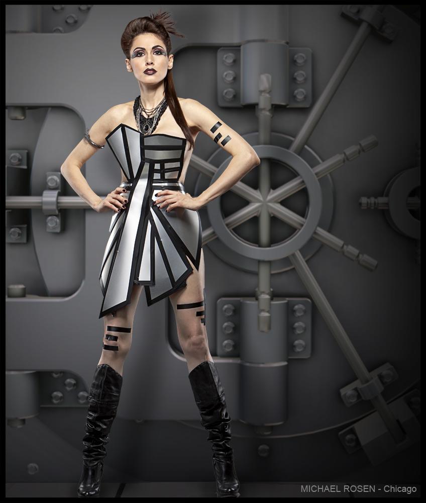 Metal dress, futuristic fashion, futuristic, metal, dress, San Francisco, wardrobe, designer, avant garde, avant garde designer, avant garde chicago, chicago avent garde, futuristic wardrobe, futuristic fashion, futuristic designer
